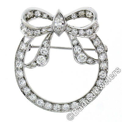 Vintage 14K White Gold 1.65ctw Marquise Round Diamond Bow Open Circle Pin Brooch