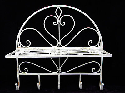 Wardrobe Wrought Iron Filing Cabinet Towel Holder White Folding USED LOOK