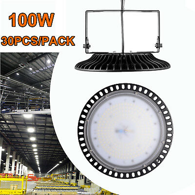 30X 100W Ultra-Thin UFO LED High Bay Light Factory Industrial Commercial Lamp