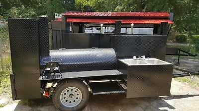 Pit Master Pro Sink BBQ Smoker Trailer Catering Business Mobile Food Cart Truck