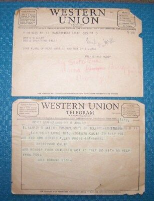 Vintage Western Union Telegram Lot of Two.