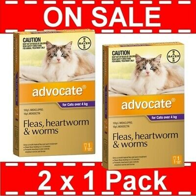 Advocate for Cats Over 4 kg 2 Pack (2 x 1 Packs) Expiry 08/2018