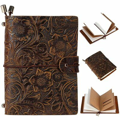 Vintage Classics Embossed Retro Leather Cover Travel Diary Notebook Sketchbook