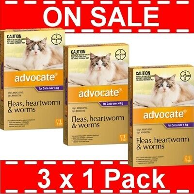 Advocate for Cats Over 4 kg 3 Pack (3 x 1 Packs) Expiry 08/2018