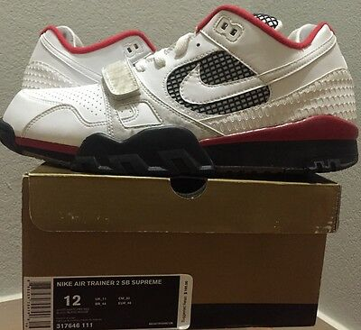 6dd505b78d45 NIKE AIR TRAINER 2 Sb Supreme Fire Red White Size 12 Us -  425.00 ...