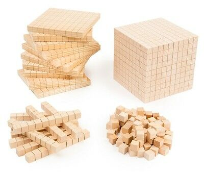 MAB Base Ten Wooden Maths Blocks Student Pack 131 Pieces Teacher Resource Kids