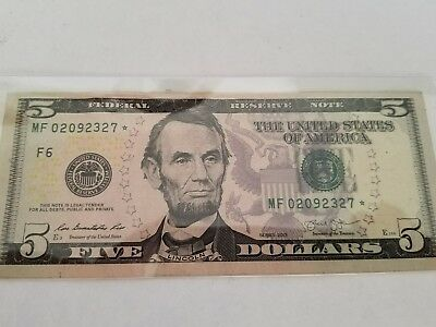 USA FRN Low number 2013 $5 Star note XF-AU