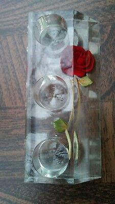 Vintage Clear Plastic Lipstick Holder with Encased Red Rose