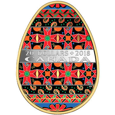 Canada 2018 Golden Spring Pysanka Ukrainian Egg Shaped $20 Silver Gold Plated