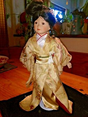 Porcelain Doll traditional geshia chinese china doll large  oriental silk