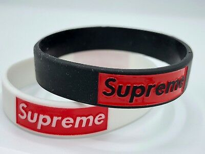 Supreme Red Box Logo Silicone Rubber Baller ID Unisex Wristband Bracelet USA NEW