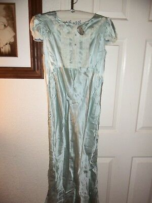 RARE VINTAGE 1940's POWDER BLUE SILK & LACE NIGHTGOWN LADY LOVE NEW OLD STOCK