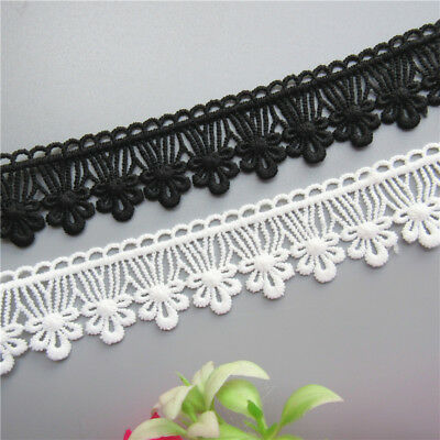 1 Yard Flower Cotton Crochet Lace Trim Ribbon Embroidered Appliques Sewing Craft