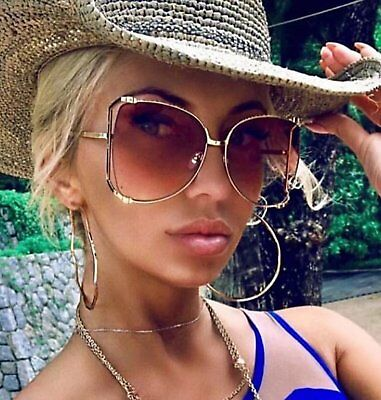 OVERSIZED Rimless VINTAGE RETRO Butterfly Style Gold Silver Frame SUNGLASSES
