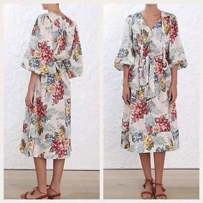 6c85a608bf3 NEW AUTHENTIC ZIMMERMANN Kali Hibiscus Tie Casual Maxi Dress AU 0 1 ...