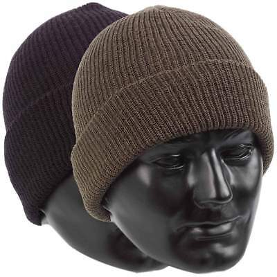 US Army Style Watch Cap 100% Wool Warm Military Bob Hat - One Size Fits All