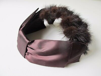 Vintage 50's 60's Hat Crown Open Head Genuine Fur Brown Satin Bow Costume Party