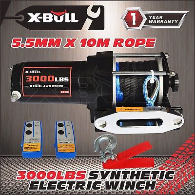 3000LBS /1361KGS Electric Winch 12V Wireless ATV 4WD Synthetic Rope 10M X-BULL