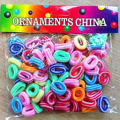 100 Pcs Kids Girl Lady Elastic Rubber Hair Bands Ponytail Holder Head Rope Ties