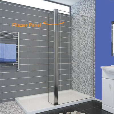 Walk In Shower With Flipper Panel.Walk In Shower Screen Panel Wet Room Enclosure 8mm Nano