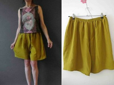 Vintage 80s Silk Mustard Shorts Small Buy 3+ items for FREE Postage