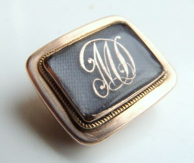 Georgian 15ct Gold Monogrammed + Hair  Mourning Brooch
