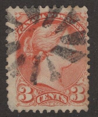 CANADA #37ii 3c dull red 11.5 X 12P  SEGMENTED CORK CANCEL FINE
