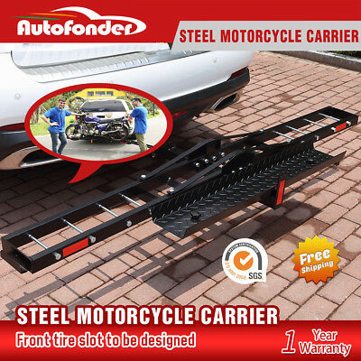 IKURAM Steel Motorcycle Carrier Rack Motorbike 2″ Towbar Hitch Mount with Ramp