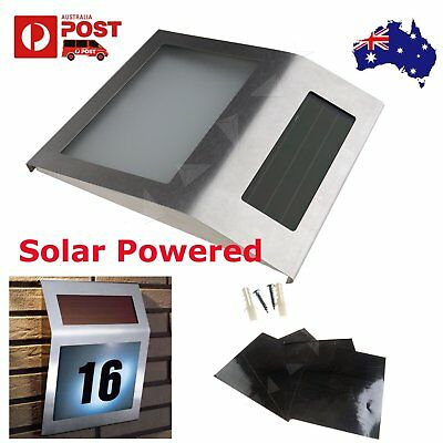 Solar Powered 2 LED House Address Number Stainless Steel Doorplate Light Lamps