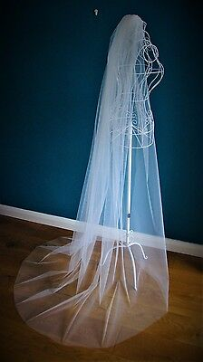 3 M Wide Wedding Veil *Chapel Length*Made to Order*Off white/Ivory*Cut Edge*