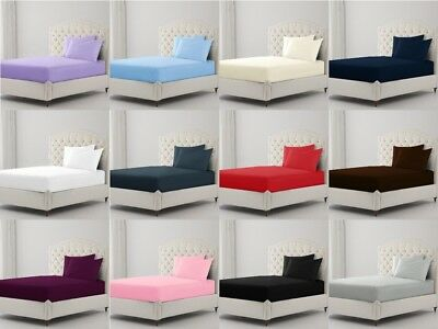 """Extra Deep Fitted Sheet Percale Bed Sheets Single Double King Super King 16""""40Cm"""