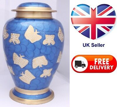 Urns for Ashes Adult Cremation Funeral Memorial Brass Large blue butterfly SALE