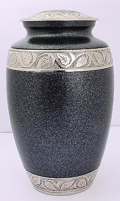 Adult Cremation Urn for Ashes Large Funeral Memorial remembrance grey Silver urn