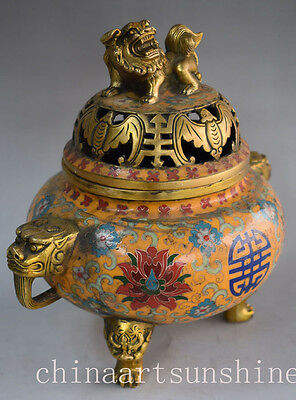 Chinese Exquisite Old Cloisonne Handmade Carved Lion Lid Flower Incense Burner