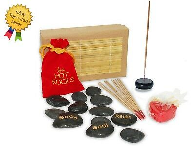 Spa Hot Rocks Gift Pack Relaxing Stone Massage Therapy Valentines Day Gift