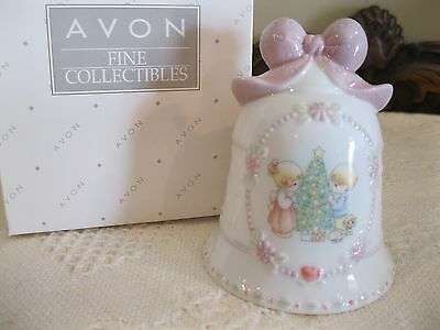 Avon 1997 Precious Moments Porcelain Christmas Bell - Nib