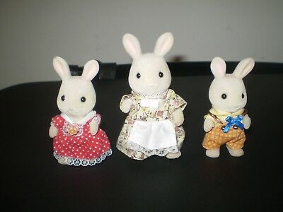 Sylvanian Families milk  rabbit family 3 figures