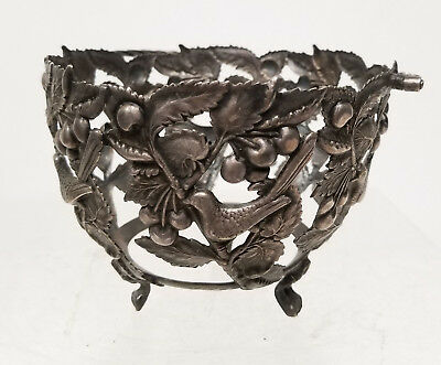 Antique Vintage Silver or Silverplate Basket Bowl Aesthetic Floral Bird Hallmark