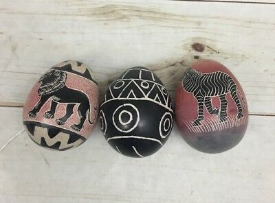 "Set Of 3 Hand Painted & Carved African Soapstone Eggs 3"" Kenya"