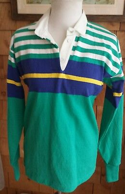 017e21ad Mens VINTAGE LL BEAN Striped Long Sleeve Rugby Polo Shirt Green Large 90's