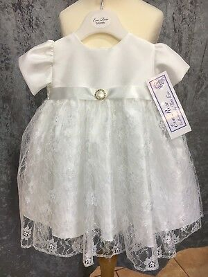 New Baby Girls White lace christening party dress 0 6 12 18 months £9 to clear