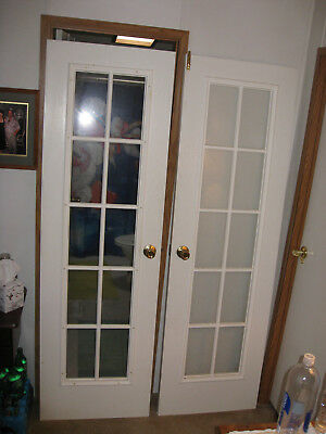 "Heavy Interior French Doors 80"" X 24"" 10 Pane Light Tempered Glass 48"" Opening"