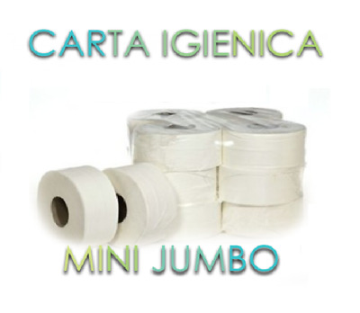 🚽🧻12 Rotoli Carta Igienica Mini Jumbo per Dispenser Hotel Pizzeria Bar Mani 🧻