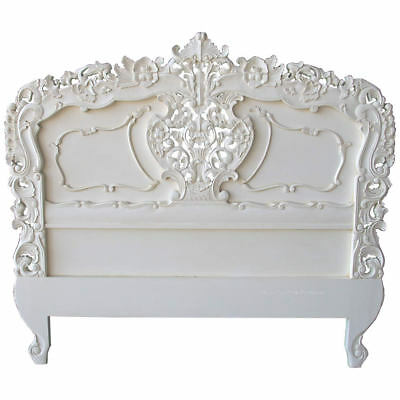 "Antique White Bed Head Board Mahogany French Style Carved Headboard 4'6"" + King"
