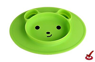 Silicone Placemat Mini,plate for Kids,Babies,Dining for Table Feeding bear green