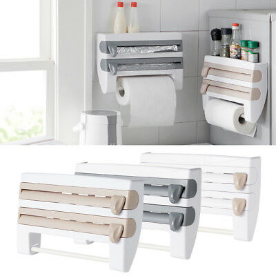 Wall Mount Kitchen Paper Towel Holder Cling Film Tinfoil Triple Roll Dispenser