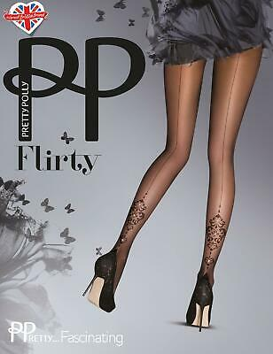 Pretty Polly Flirty Tights - Delightful, Fascinating, Mock Lace Suspender