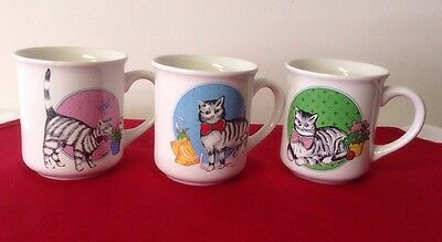 Vintage 1985 Chadwick Miller Cat Coffee Cups/ Mugs ~ Set Of 3