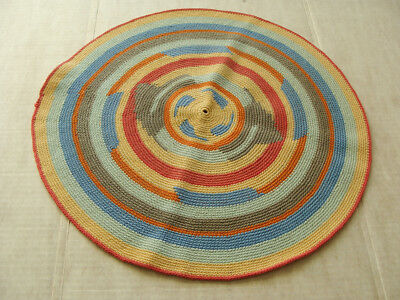 Vtg Hand Made Striped Woven Stitched Crocheted Table Round Centerpiece Doily Rug