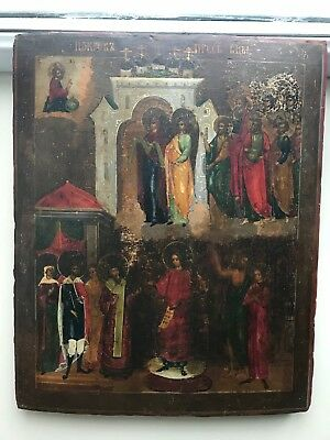 "Antique 18c Russian Hand Painted Wood Icon ""Protection of the Virgin "" LARGE!"